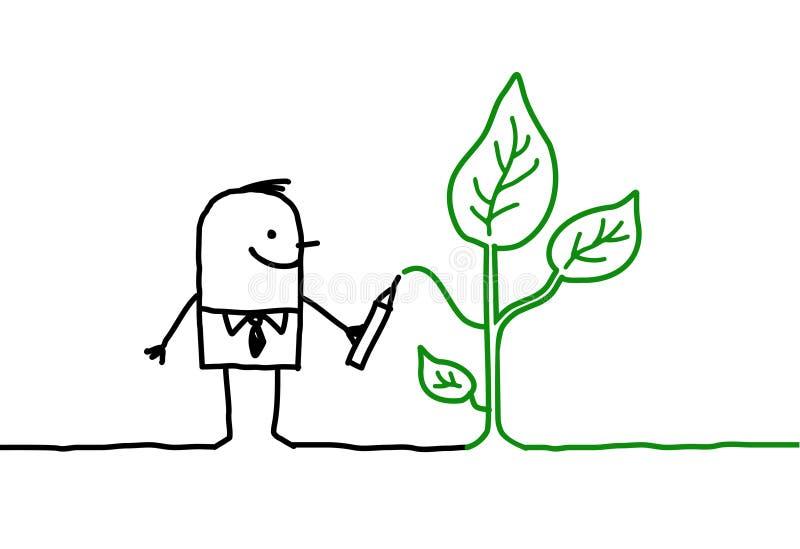 Mens & ecologie vector illustratie
