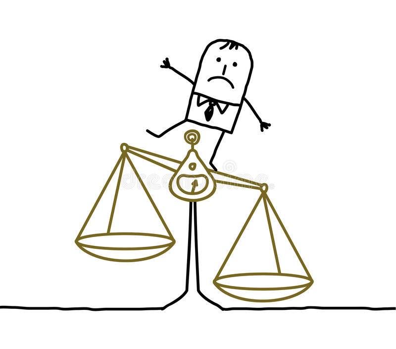 Mens & onevenwichtigheid, onrechtvaardigheid stock illustratie