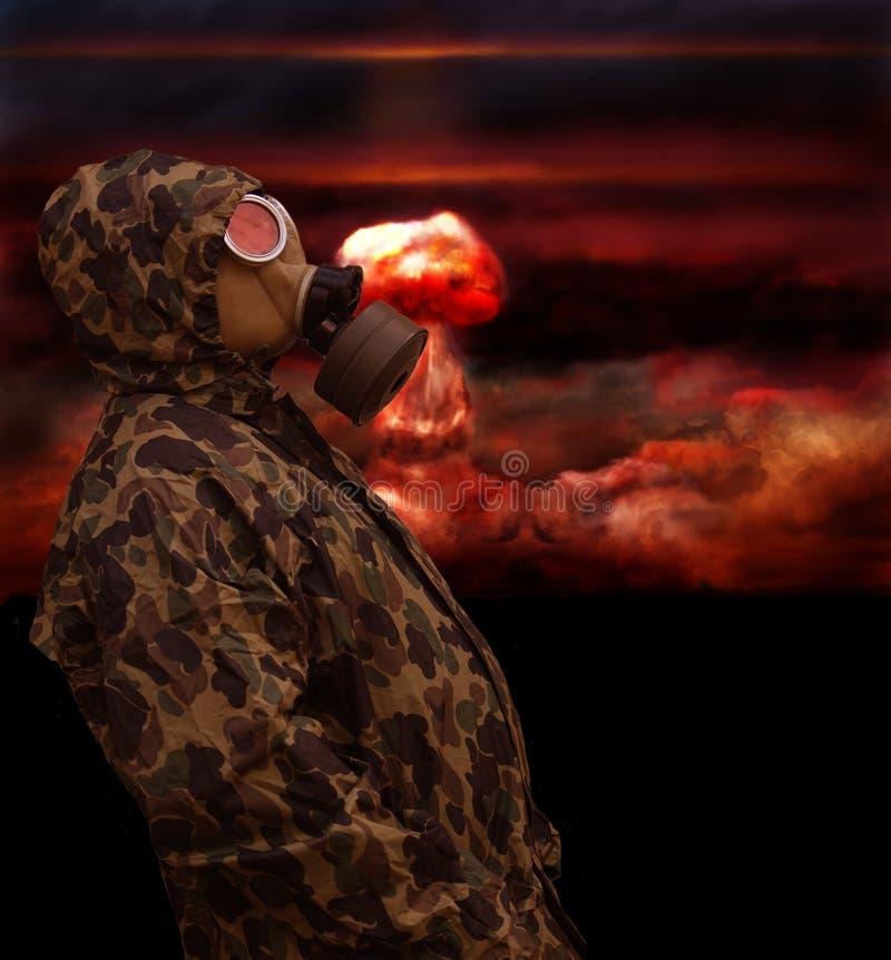 Mens In Anti-gas Masker Stock Afbeelding
