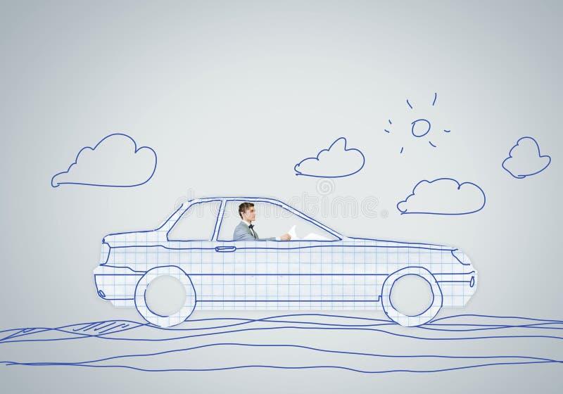 Mens in Auto royalty-vrije illustratie