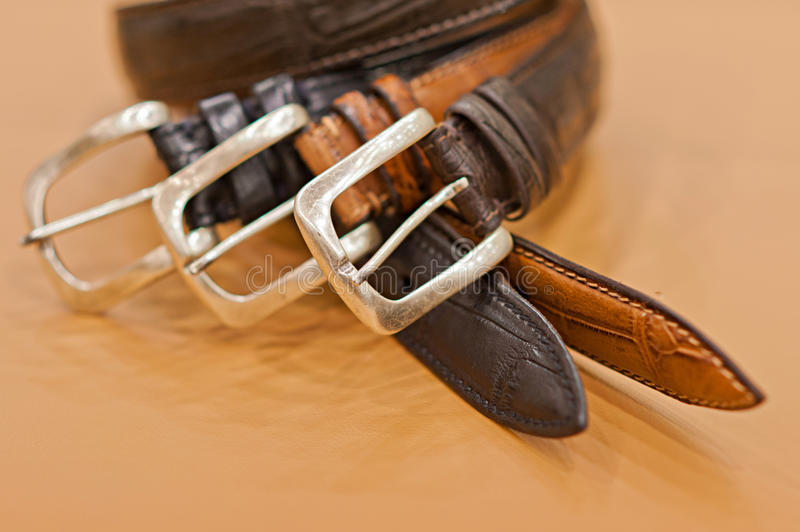 Mens belts. Especially mens genuine leather belts stock photos