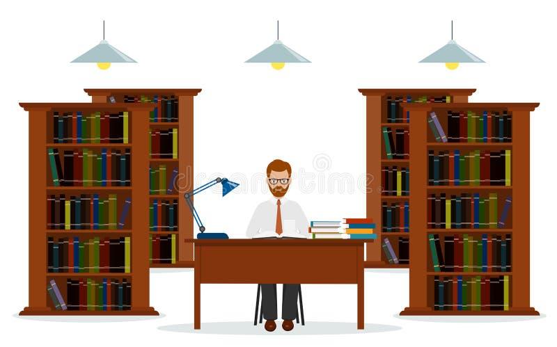 Mens in bibliotheek Concept onderwijs Het lezen in bibliotheek vector illustratie