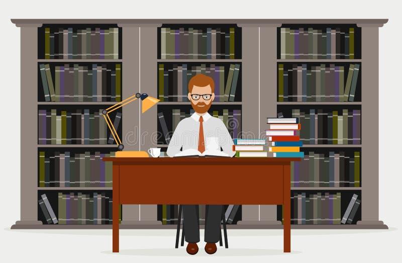 Mens in bibliotheek Concept onderwijs Lezend in bibliotheek een vectorillustratie vector illustratie
