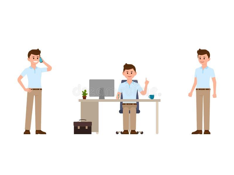 Mens bij het karakter van het het werkbeeldverhaal Vectorillustratie van het spreken op telefoon, zittend bij het bureau, bevinde vector illustratie