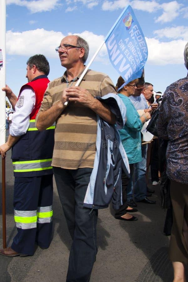 Mens bij het Nationale Protest van het Loon van de Eenheid royalty-vrije stock afbeelding