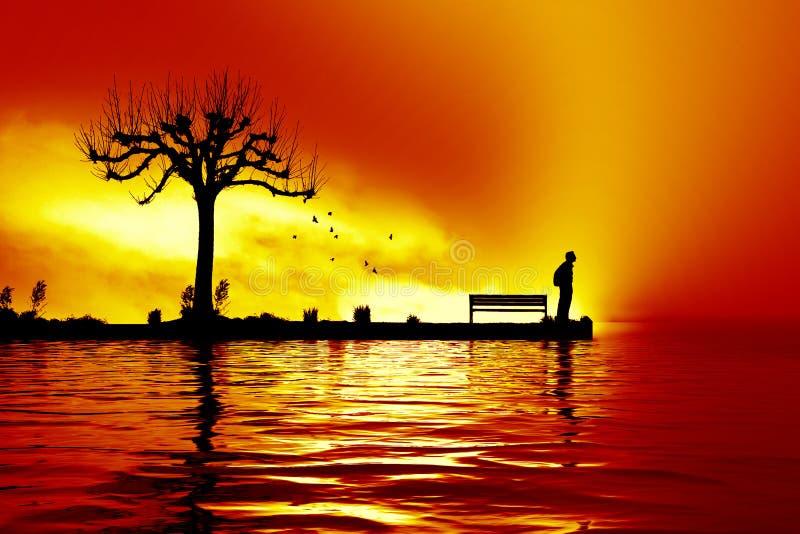 mens bij het zonsondergangmeer royalty-vrije stock afbeelding