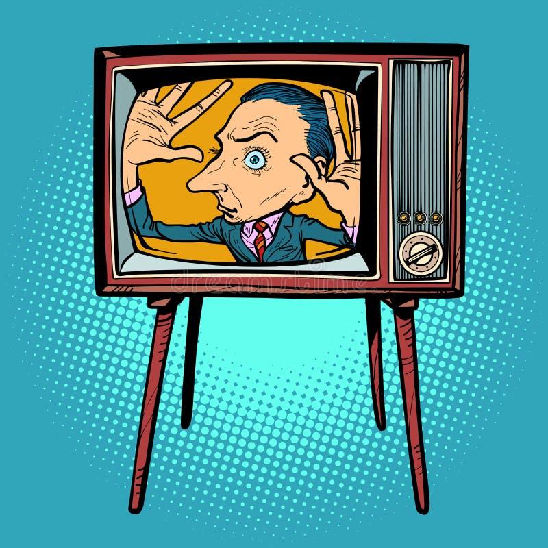 Mens binnen TV stock illustratie