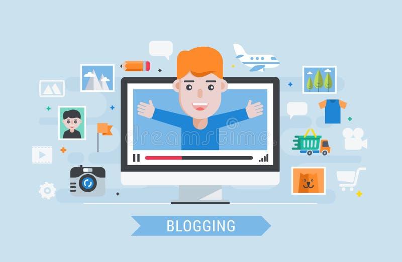 Mens blogger vector illustratie