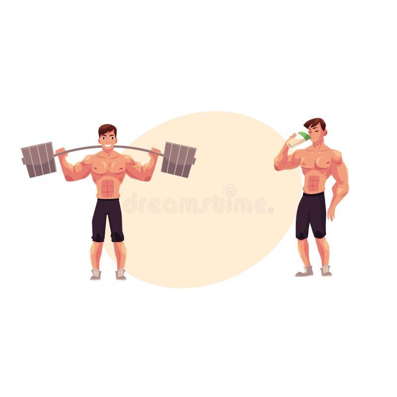 _mens bodybuilder, uit:werken met barbell en drinken eiwit schok royalty-vrije illustratie