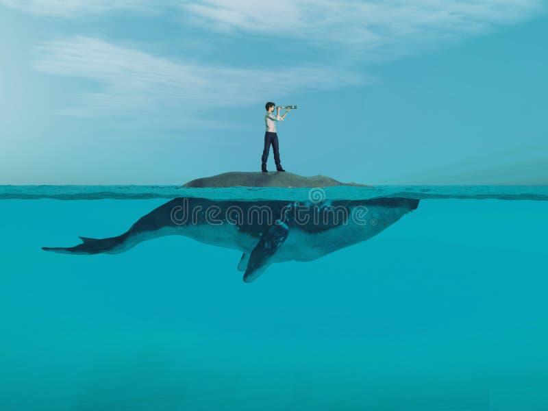 Mens boven een reusachtige walvis in de oceaan royalty-vrije illustratie