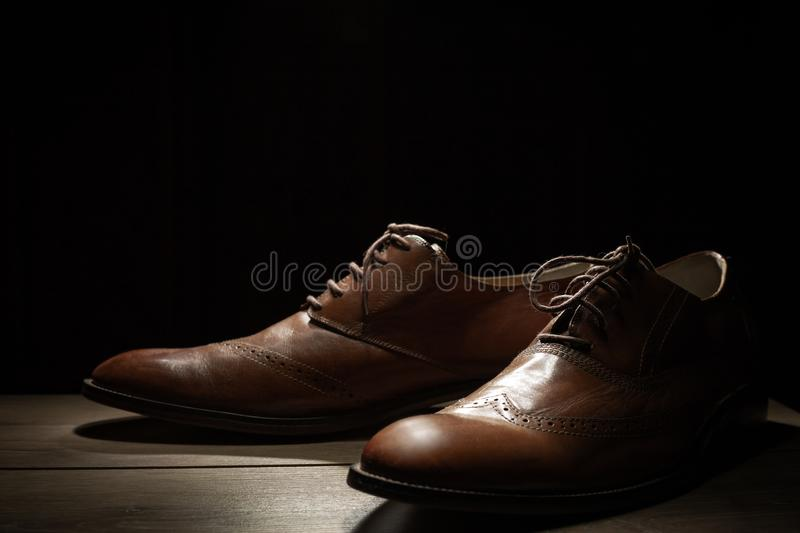 Mens brown shoes royalty free stock images