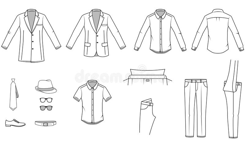 Mens clothes. Garment illustration. Includes Office wear and Accessories. Vector illustration stock illustration