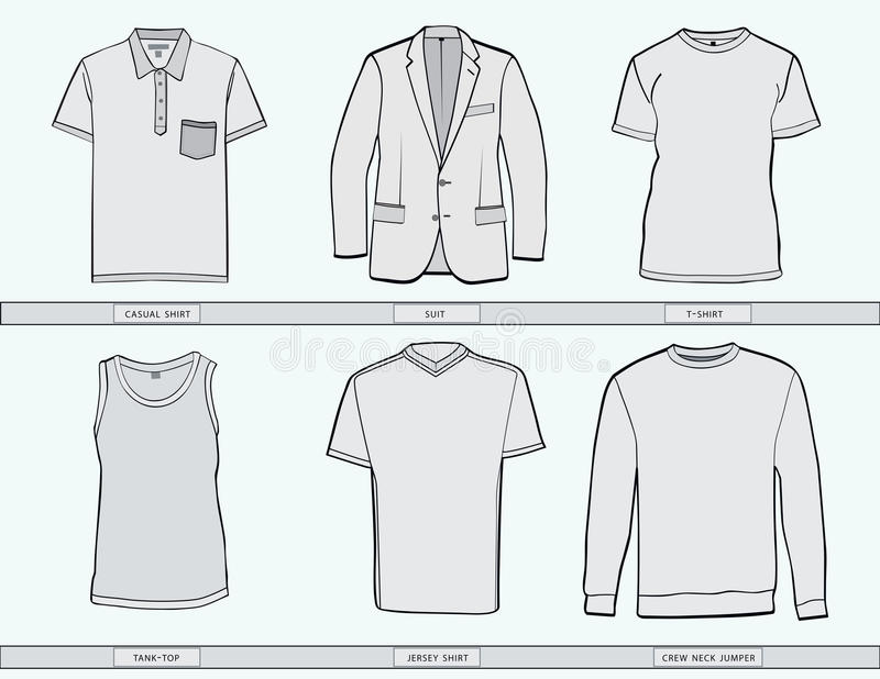 Mens clothing templates. stock vector. Illustration of clipart ...