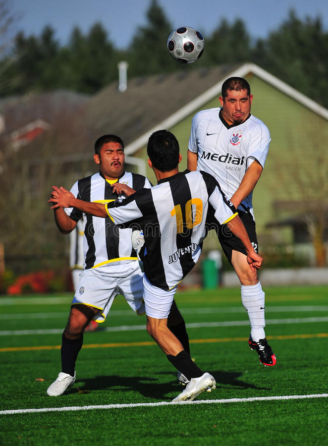 Mens club Soccer 2on 1 stock photo