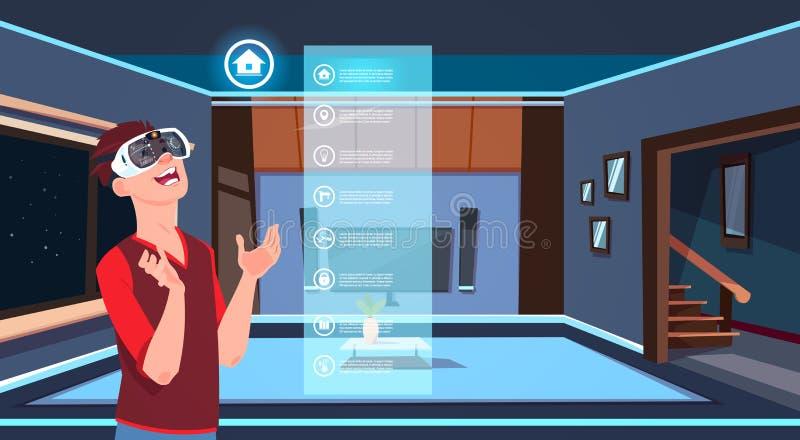Mens in 3d Glazen die Slim Huis App over Woonkamer Moderne Technologie Als achtergrond van Huis Controleconcept gebruiken vector illustratie