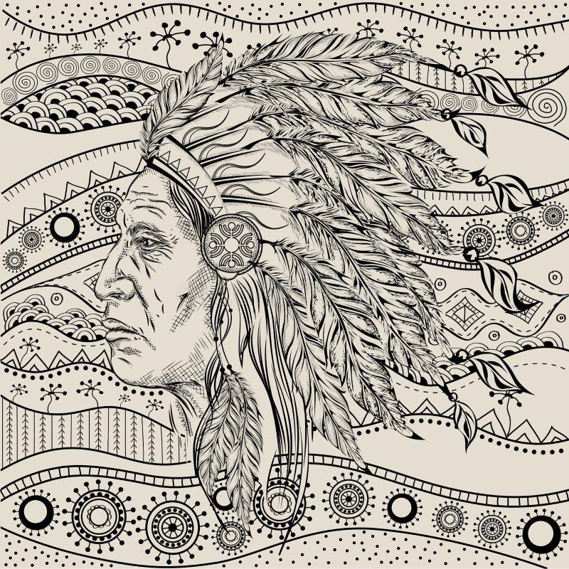 Mens in de Inheemse Indiaanleider op ethnopatroon, stammenachtergrond Indisch veerhoofddeksel vector illustratie