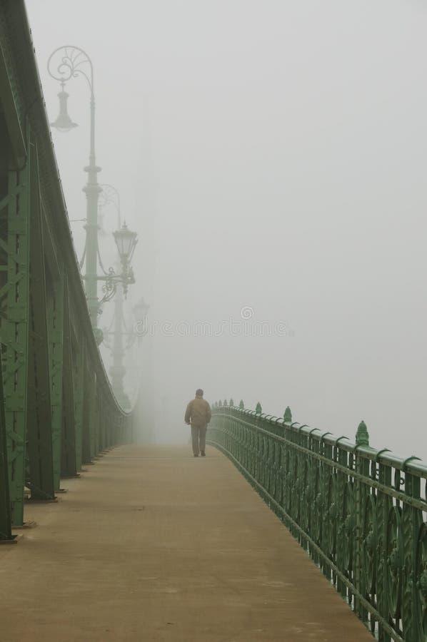 Mens in de mist royalty-vrije stock afbeelding