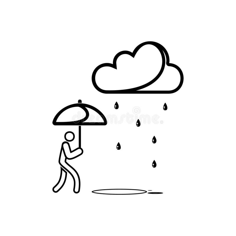 mens in de regen met het pictogram van het parapluteken Element van Weer voor mobiel concept en webtoepassingenpictogram Overzich royalty-vrije illustratie