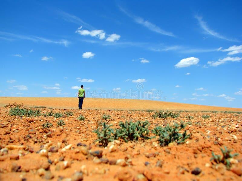 Mens in de woestijn stock afbeelding