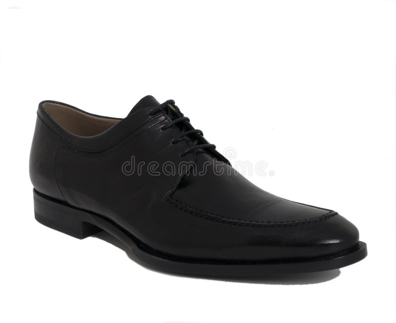 Mens Designer black leather shoe stock photos