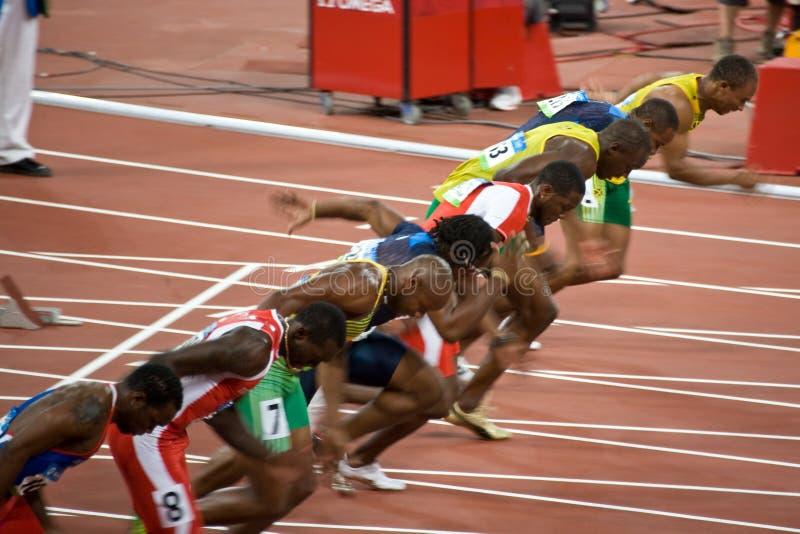 Mens di Olimpiadi uno sprint dei 100 tester fotografie stock