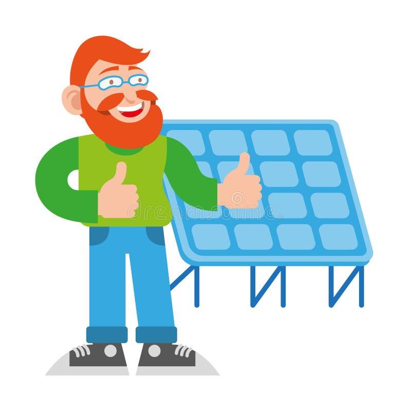 Mens dichtbij zonne-energiebatterij royalty-vrije illustratie