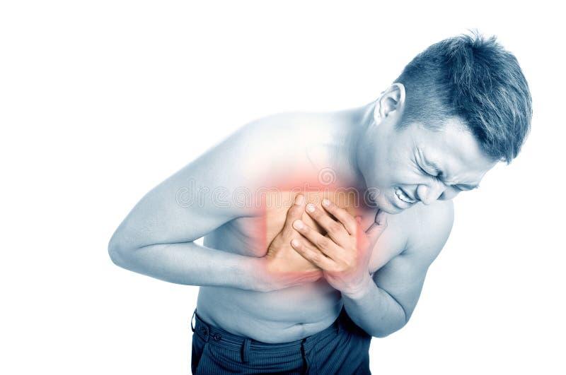 mens die aan borstpijn lijdt. royalty-vrije stock foto
