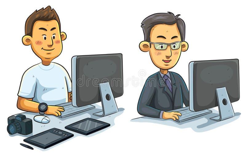 Mens die aan Computer werken stock illustratie