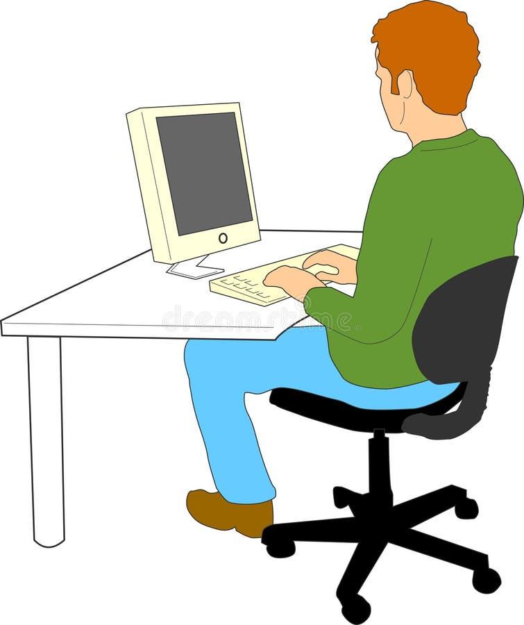 Mens die aan computer werkt vector illustratie