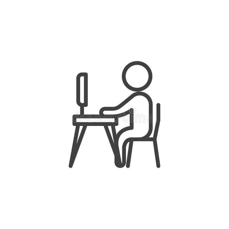 Mens die aan het pictogram van de computerlijn werken vector illustratie
