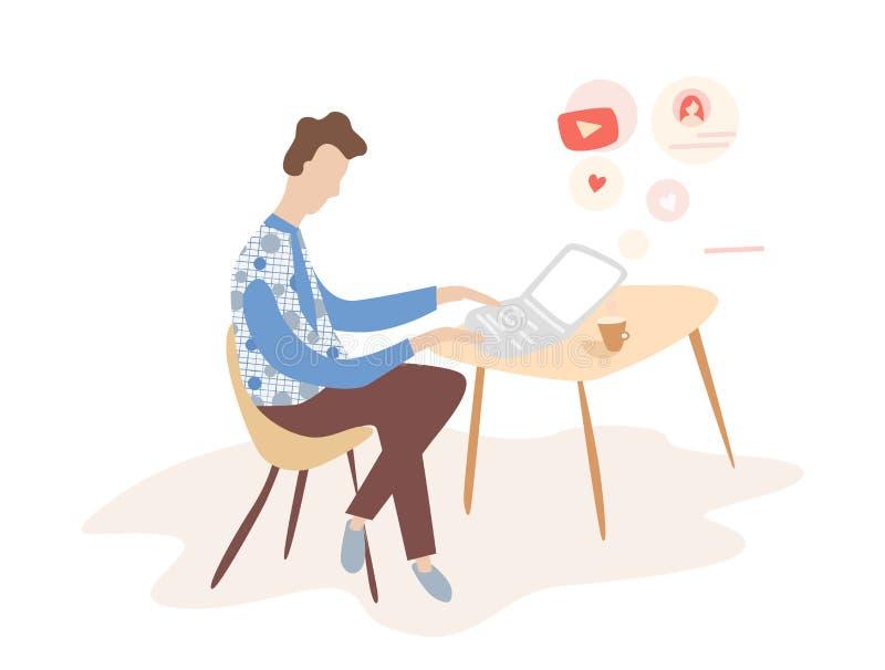 mens die aan Internet werken gebruikend laptop en drinkend koffie Het werk thuis reis en het werk In een koffie royalty-vrije illustratie