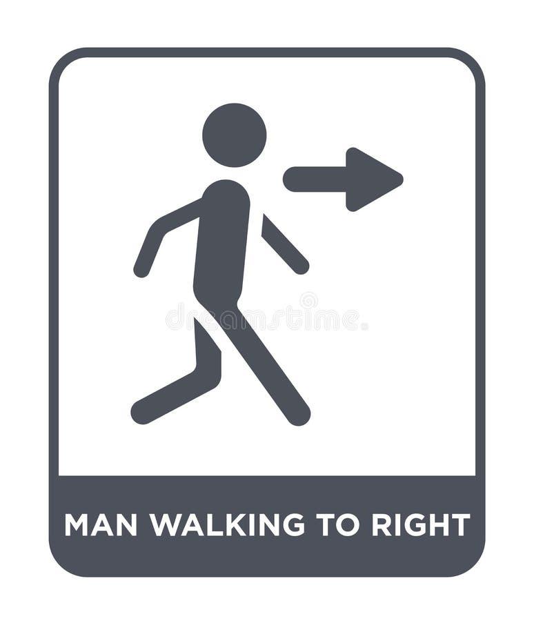 mens die aan juist pictogram in in ontwerpstijl lopen mens die aan juist die pictogram lopen op witte achtergrond wordt geïsoleer vector illustratie