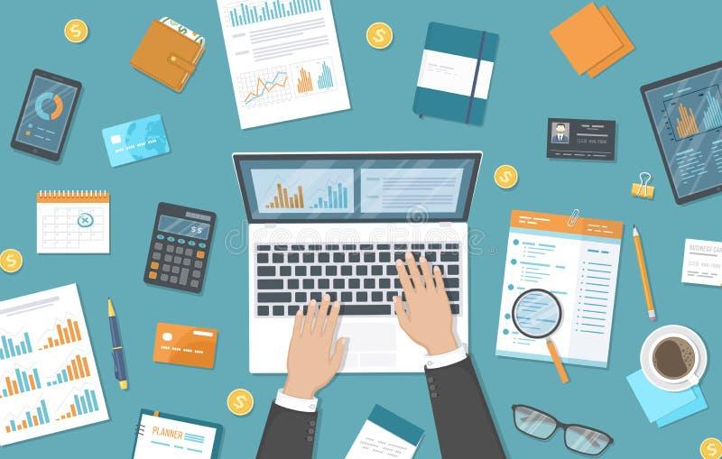 Mens die aan laptop op de Desktop werken Documenten, kalender, calculator, blocnote, portefeuille Organisatie, planning, beheer stock illustratie