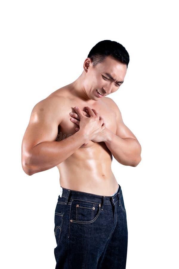 Mens die aan pijn in de borst lijdt royalty-vrije stock foto