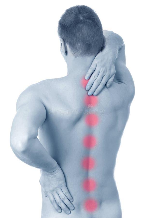 Mens die aan rugpijn lijdt stock fotografie