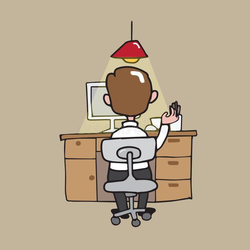 Mens die aan zijn bureau werken royalty-vrije illustratie