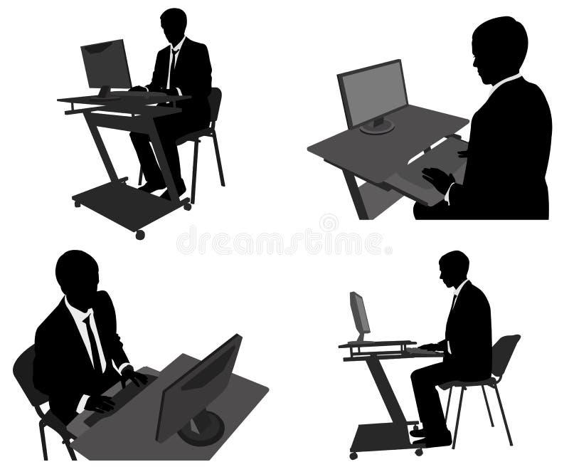Mens die aan zijn computer werken royalty-vrije illustratie