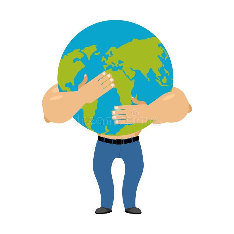 Mens die aardeplaneet koesteren De wereld is in mannelijke handen Vector illustr vector illustratie
