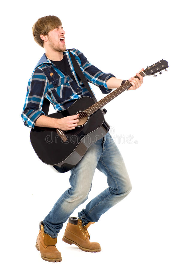 Mens die akoestische gitaar speelt royalty-vrije stock fotografie