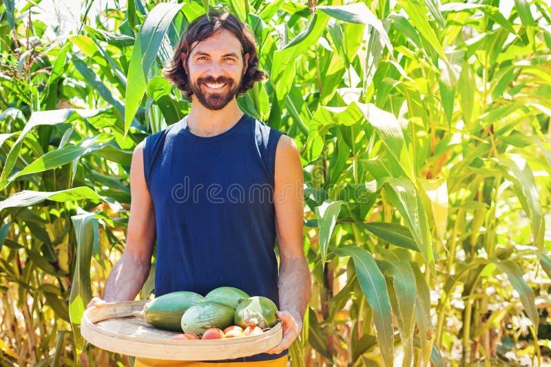 Mens die als landbouwer werken stock afbeelding