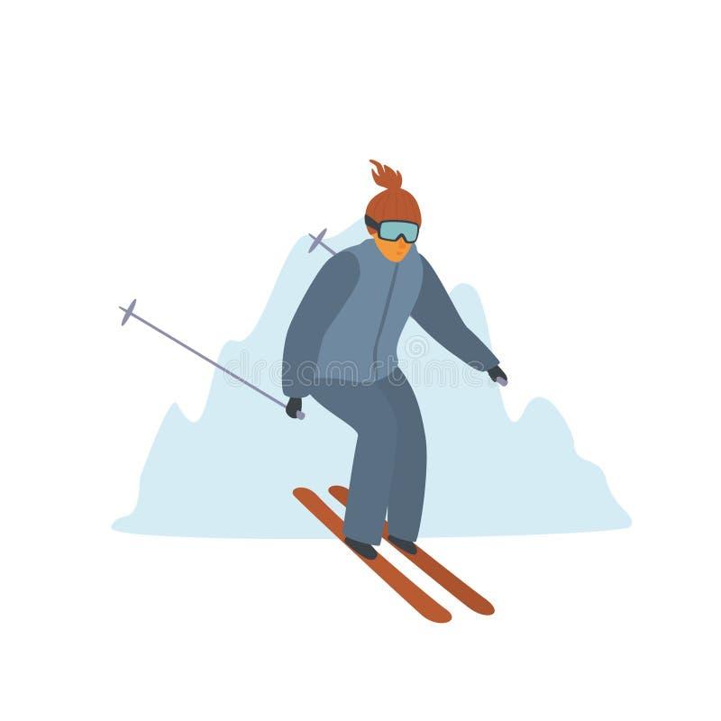 Mens die bergaf bij de geïsoleerde vectorillustratie van de winterbergen toevlucht ski?en stock illustratie