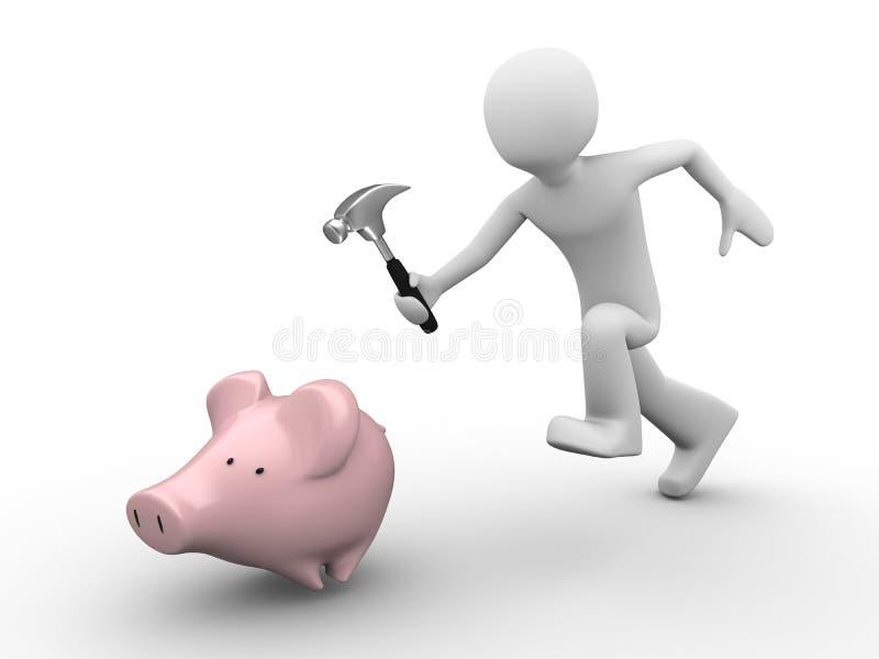 Mens die besparingen probeert te vangen stock illustratie