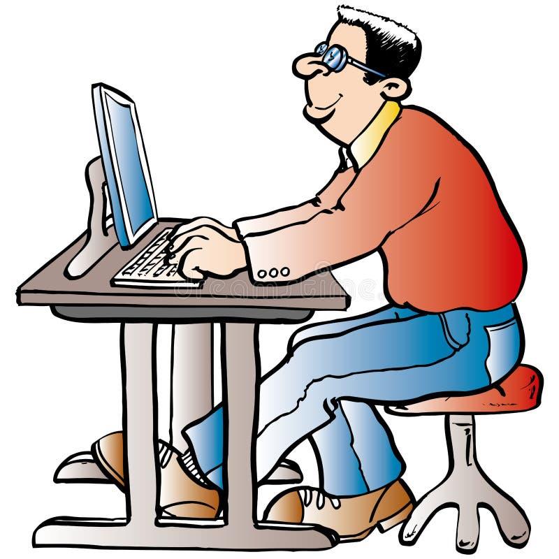 Mens die bij de Computer werkt vector illustratie