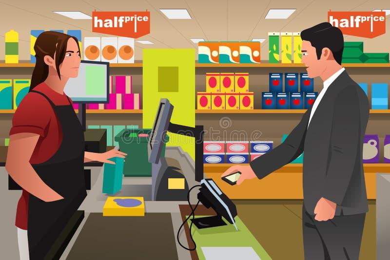 Mens die bij de Kassier Using Phone betalen royalty-vrije illustratie