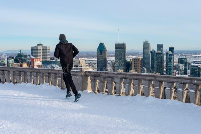 Mens die bij Kondiaronk-belvedere in de winter lopen royalty-vrije stock afbeeldingen