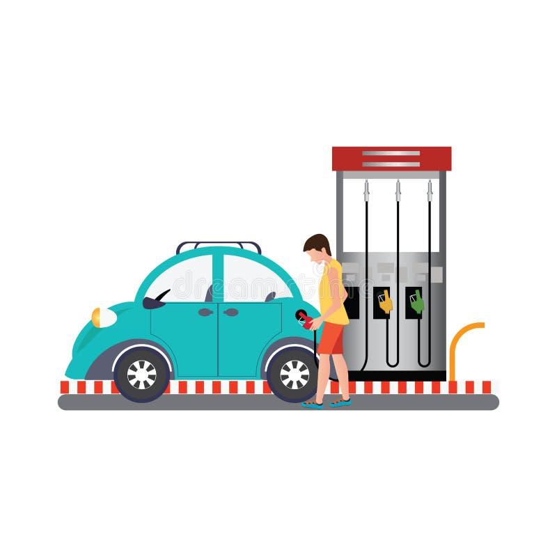 Mens die brandstof opvullen in de auto bij de benzinepomp royalty-vrije illustratie