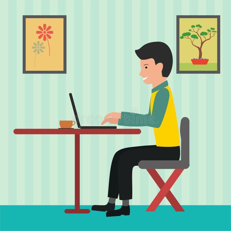 Mens die in bureau vectorillustratie werken met vlak ontwerp stock illustratie