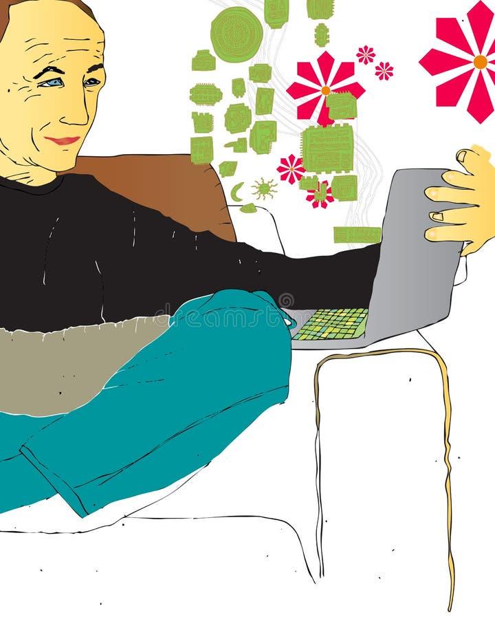Mens die Computer met behulp van royalty-vrije illustratie