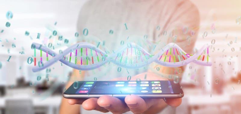 Mens die 3d teruggevende gegevens gecodeerd houden DNA met binair dossier aroun stock afbeeldingen