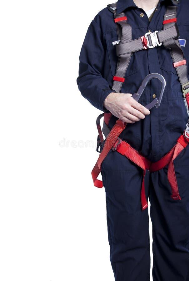 Mens die dalingsbescherming draagt stock afbeelding